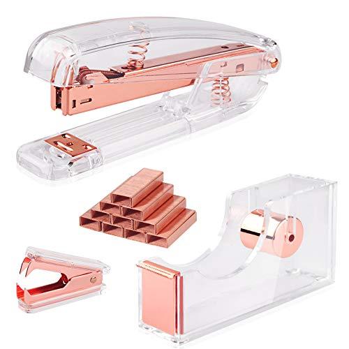 Rose Gold Acrylic Stapler Set Desk Accessory & Decoration Kit for Desk, Stapler and Staple Remover, Tape Dispenser, with 1000 Pcs Rose Gold Staples,Rose Gold Stapler Bundle Office Supplies Set