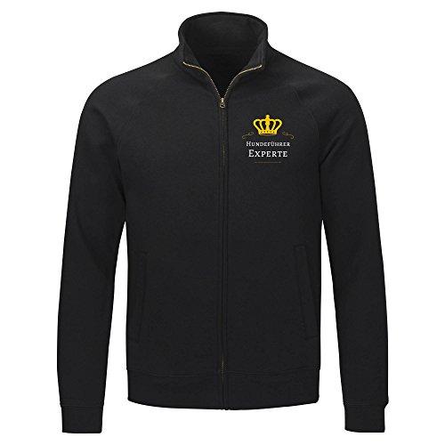 Multifanshop Herren Sweatshirt Jacke Hundeführer Experte - schwarz - Größe S bis 2XL, Größe:XXL