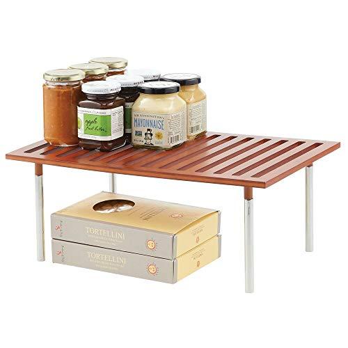 mDesign Organizador de cocina – Práctico sistema de almacenaje de cocina de bambú y metal – Elegante estante de almacenamiento para armarios de cocina, encimeras, etc. – color cerezo