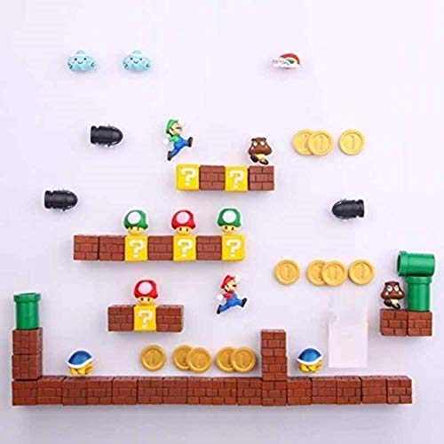 LMPENG 63 imanes de resina 3D de Super Mario para nevera, juguetes para niños, decoración del hogar, figuras de mural, imanes de balas, ladrillos, 18 combinaciones, 63 combinaciones