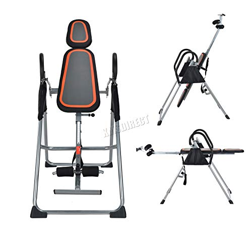 FoxHunter Folding Gravity Inversion AB Table Reflexology Exercise Bench Back Neck Pain Therapy Fitness FIT01 Black and Silver