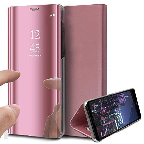 Herbests Hülle Kompatibel mit Sony Xperia XZ3 Spiegel Ledertasche BookStyle Ultra Dünn Überzug Mirror Hülle Transluzente Fensteransicht Galvanisieren Handyhülle Lederhülle,Rose Gold