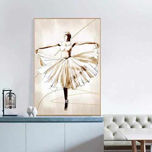 Stampa su tela Balletto astratto Ragazza che balla Dipinti d'arte Poster e stampe nordici Immagine per soggiorno Decorazione della sala da ballo -50x75 cm No Frame