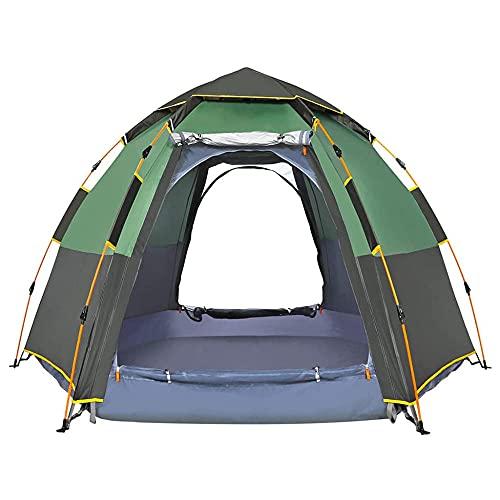 Tienda de Campaña Familiar 6 Personas Carpa Grande Acampada Tipo Refugio, Tiendas de campaña Tipo Domo Ligeras para Adultos, con Bolsa de Transporte Mosquitera Protección Solar UV