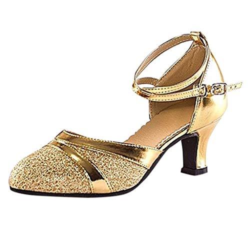 Deloito Damen Mode Elegant Ballsaal Tango Latein Salsa Tanzschuhe Party Hochzeit Sozial Pailletten Schuhe Weicher Boden Spitze Absätze Tanzschuh (Gold,40 EU)