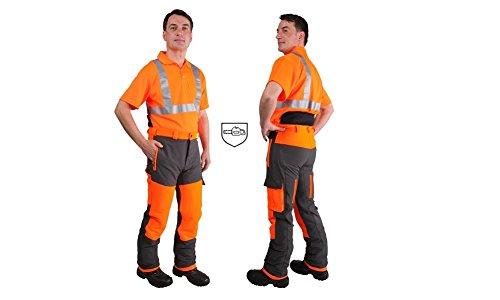 Forstschutz-Bundhose STRETCH - Klasse 1 - grau/orange - Größe 54/56