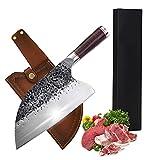Cuchillo de cocinero profesional japonés, cuchillo de serbio, carnicero de cocina, hoja de 20 cm con funda, también para bushcraft de camping al aire libre, con funda de piel