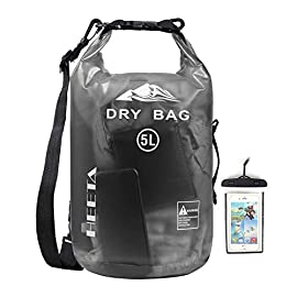HEETA Waterproof Dry Bag for Women Men, 5L/ 10L/ 20L/ 30L/ 40L Roll Top Lightweight Dry Storage Bag Backpack with Phone… 2 Waterproof - Use professional seamless technology. Our dry bag has the overall waterproof capability, making sure to keep your items and valuables dry when you do some water sports like boating and kayaking but not underwater sports Durable - Made by 0.02 in (0.6 mm) thick wear-resistant material, suitable for outdoor activities, waterproof bag nicely adapts to all kinds of weather and environment Multifunctional - Adjustable Shoulder Straps & Handle for shoulder carrying and backpack, very convenient for different occasions like boating, rafting, kayaking, swimming, mountaineering, etc. The lightweight dry bag won't aggravate the burden of your arms or shoulder