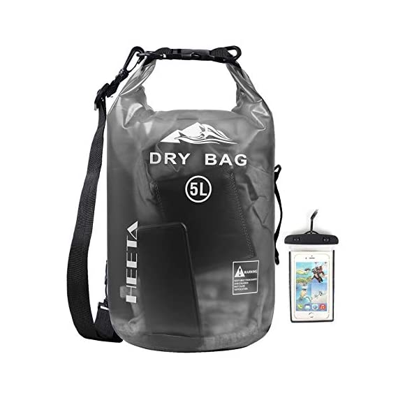 HEETA Waterproof Dry Bag for Women Men, 5L/ 10L/ 20L/ 30L/ 40L Roll Top Lightweight Dry Storage Bag Backpack with Phone… 1 Waterproof - Use professional seamless technology. Our dry bag has the overall waterproof capability, making sure to keep your items and valuables dry when you do some water sports like boating and kayaking but not underwater sports Durable - Made by 0.02 in (0.6 mm) thick wear-resistant material, suitable for outdoor activities, waterproof bag nicely adapts to all kinds of weather and environment Multifunctional - Adjustable Shoulder Straps & Handle for shoulder carrying and backpack, very convenient for different occasions like boating, rafting, kayaking, swimming, mountaineering, etc. The lightweight dry bag won't aggravate the burden of your arms or shoulder