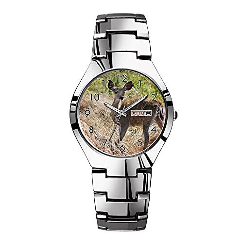 Relojes para hombre de acero plateado banda superior marca impermeable Japón reloj de cuarzo Navidad hombres negocios reloj joven ciervo reloj