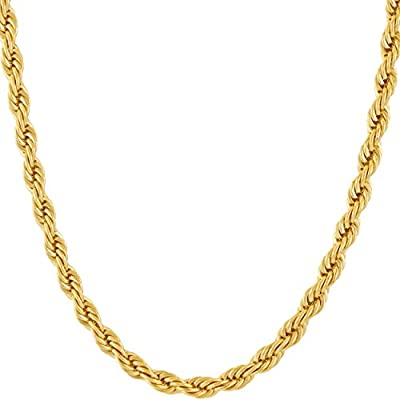 Lifetime Jewelry 5mm Rope Chain Necklace 24k Real Gold Plated for Men Women Teen with Free Lifetime Replacement Guarantee