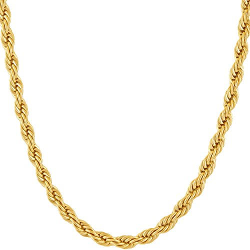 Lifetime Jewelry 5mm Rope Chain Necklace 24k Real Gold Plated for Men Women Teen (Gold, 20)