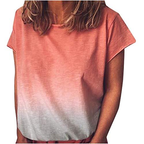 2021 Nuevo Camiseta de Mujer, Verano Moda Manga Corta Basic Degradado Impresión Cómodo Blusa Camisa Cuello Redondo Camiseta Casual Tops Suelto Cómodo Fiesta T-Shirt Original tee Ropa de Mujer