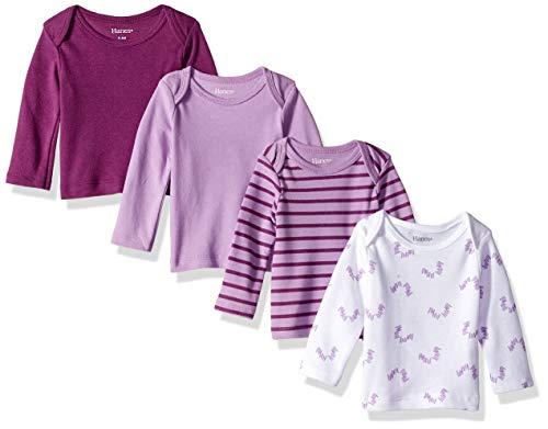 Hanes baby girls Ultimate Flexy 4 Pack Long Sleeve Crew Tees T Shirt Set, Purple Fun, 18-24 Months US