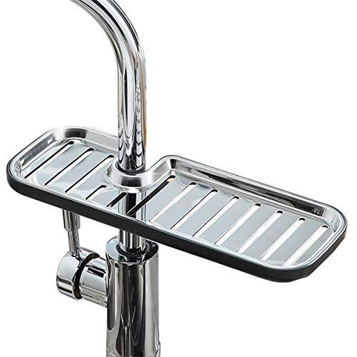Kitchen Faucet Sponge Holder Sink Caddy Organizer Stainless Steel Faucet Drain Rack for Kitchen Accessories Dishwashing Liquid Drainer Rack Bottle Brush Storage