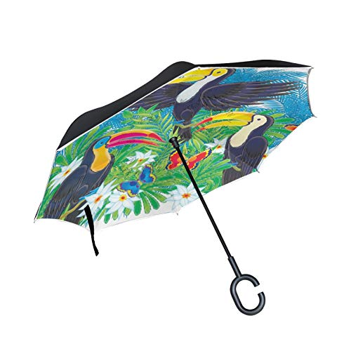 Double Layer Inverted Umbrella Winddichte Regensonnen-Regenschirme mit C-förmigem Griff - Jaguar Skin Pattern Leopard Wild Exotic Spots