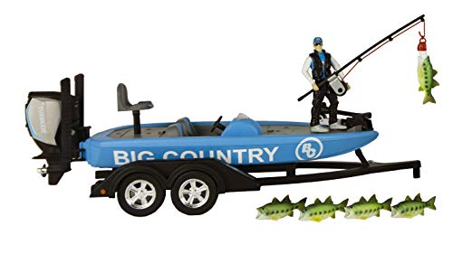Big Country Toys Tournament Professional Bass Boat - 1:20 Scale - Bass Boat with Evinrude Motor - Boat Trailer - Accessory Pack - 10 Piece Toy Set