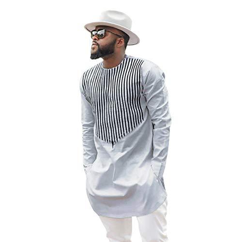 Kaiki Mann Langarmshirt Herren Afrika T-Shirt Traditionell Top Dashiki Shirt Oberteile Afrikanische Kleidung(M,Weiß)