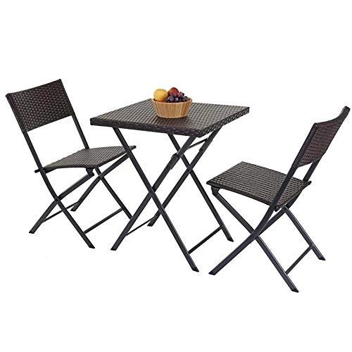 BAKAJI Set Tavolo Tavolino Pieghevole 62 x 62 cm + 2 Sedie Pieghevoli Arredo Esterno Giardino Terrazzo Struttura in Acciaio Inox e Sedute in Polyrattan (Grigio)