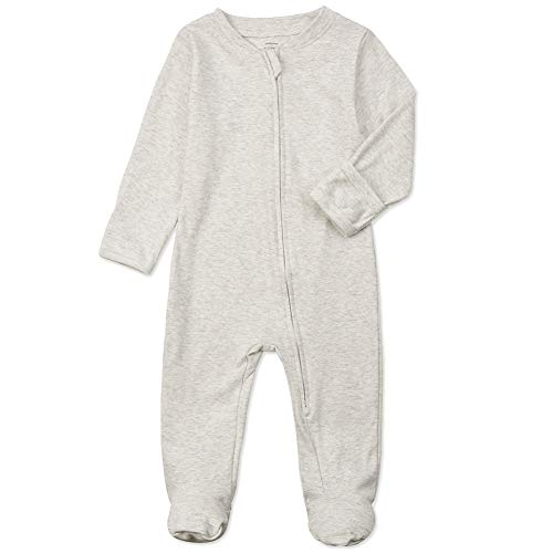 Organic Cotton Baby Footed Pajamas with Mittens - Neutral Newborn Infant Double Ways Zippers Sleep 'n Play Onesie Footies Pjs for Girls Boys (Light Grey, 0-3months)