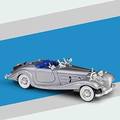 YZHM 1936 Mercedes 500K-Druckguss-Auto Realistische 1/18 Modelllegierung Kinderspielzeug können die Tür öffnen, die für Jungen Mädchen und Erwachsene Sammler geeignet ist,Grau