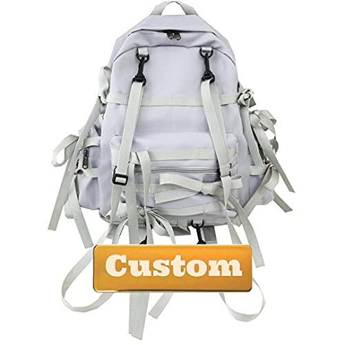 JINTD Nombre Personalizado Lightweight Bookbag Daypack para la Dama de Viajes Escuela de Mochila Casual para niña (Color : Grey, Size : One Size)