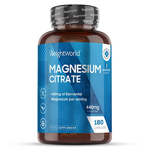 Magnesium Citrate - 1480mg - 180 Tablets (6 Month Supply) 440mg Elemental Magnesium Servings, Muscle Relief, Energy Booster Tablets, Anti Fatigue, Mood Relief Supplement, Natural Vegan Oral Support