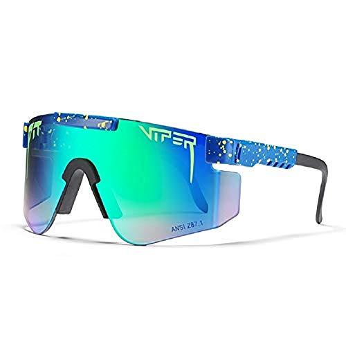 WORUIJIA Gafas de sol Pit Viper Gafas de sol polarizadas de doble ancho con espejo azul Tr90 Marco Protección Uv400 Gafas de sol deportivas de ciclismo C30
