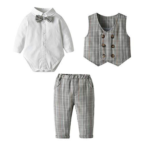 famuka Bebé Niño Traje de Caballero Recién Nacido Vestidos de Bautizo Conjunto de Ropa Polo Body + Pajarita + Chaleco + Pantalones (Gris, 0-3 Meses)