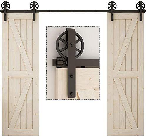 TSMST 243CM Schiebetürbeschlag Set für Doppeltüren, Laufschienen für Schiebetür Hängeschiene Schiebetürsystem Laufschiene Tür Hardware Kit Stil 7