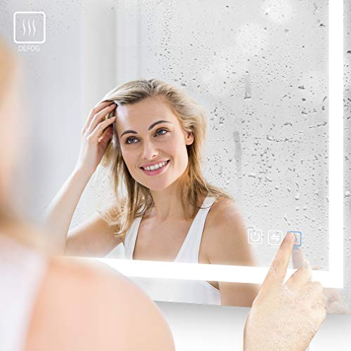 41SOw 2Q9sL - ANTEN 40x24 Inch LED Bathroom Mirror, Horizontal/Vertical Anti-Fog Bathroom Mirrors for Wall, 3000-6000K Dimmable LED Lighted Vanity Mirror