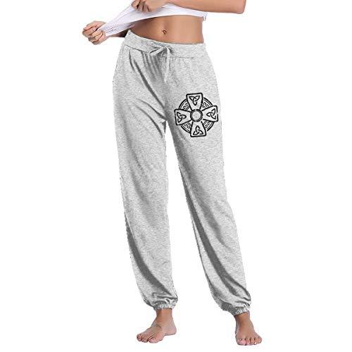 Irish Celtic Cross Women's Drawstring Waist Jogger Sweatpants with Pocket Gray