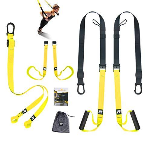RHINOSPORT Schlingentrainer Sling Trainer Set mit Türanker Einstellbar Fitness Zuhause Suspension - geeignet für unterwegs und für das Training im Innen Gelb