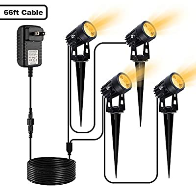 VOLISUN Landscape Lighting with Transformer,12V Low Voltage Waterproof Landscape Spotlights with Stakes for Driveway, Yard, Lawn, Patio, Swimming Pool, Outdoor Garden Lights(Warm White?4 Pack)