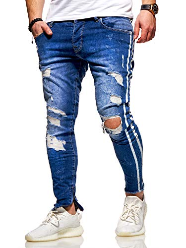 behype. Herren Destroyed Stretch Jeans-Hose im Used-Look mit Side-Stripe 80-4069 Blau W30/L32