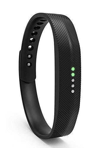 Cinturino di ricambio per Fitbit Flex 2, classico cinturino in metallo morbido in silicone o fibbia cinturino da polso per cinturino cassa per fitness activity tracker NERO M/L