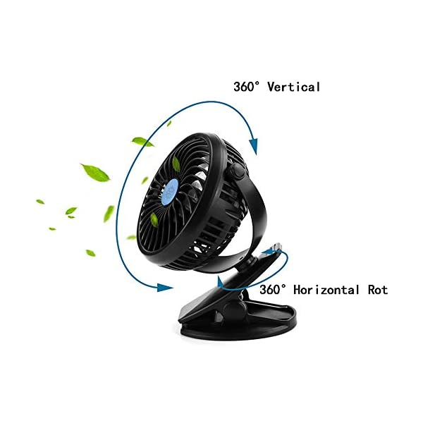 Portable Battery Powered Fan, RICHYA Super Long Lasting Battery Operated Fan for Camping, Battery Powered Desk Fan, Whisper Quiet, 360° Rotation, for Office,Bedroom,Outdoor