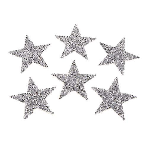 IPOTCH 6 Piezas Plata Parches de Lentejuela Pegatinas Estrellas Purpurina Decoración para Ropa/Sombreros