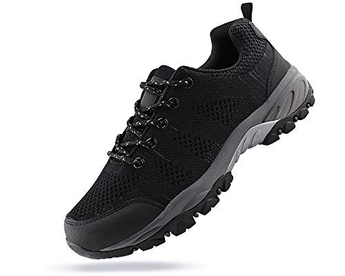 JABASIC Women Hiking Shoes Breathable Mesh Athletic Outdoor Sneakers (blk/Grey,8)