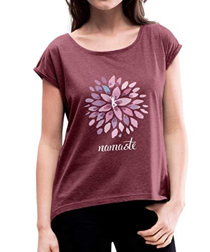 Namaste Yoga Lotus Om Meditation Frauen T-Shirt mit gerollten Ärmeln, L, Bordeauxrot meliert