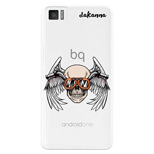dakanna Funda Compatible con [Bq Aquaris M4.5 - A4.5] de Silicona Flexible, Dibujo Diseño [Calavera Motera con alas y Gafas], Color [Fondo Transparente] Carcasa Case Cover de Gel TPU para Smartphone