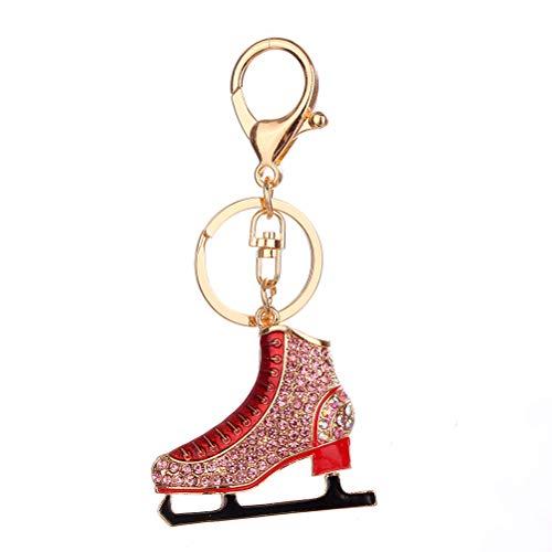 Fenical Metall Keychain Schlittschuh Kristall Schlüsselanhänger mit Quaste Handtasche Bag Charm Dekoration