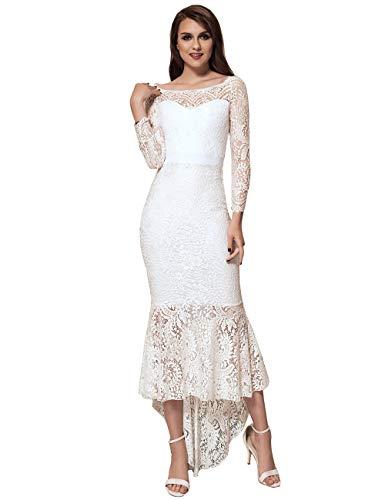 ohyeahlady Damen Cocktail Kleid Retro Spizen Schwingen Fishtail Swing Kleider Celebrity Kleid Abendkleid Brautkleid M-4XL (X-Large=EUR 40-42, Weiß)