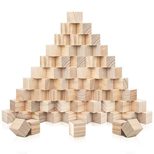 Kurtzy Cube en Bois (60 Pcs) - Petit Cube Bois Brut 3x3x3 cm - Bloc Bois Naturel - Cube Bois Bricolage, Loisirs Créatifs, Alphabet, Tampons, Lettres, Puzzle, Construction, Jouet, Nombre