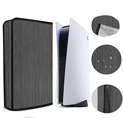 PS5ダストカバー、PlayStation 5 本体(プレイステーション5)用ほこり防止カバー、通気性 やわらかい厚手の綿,ケーブルポートは接続が簡単です、PS5 コンソールデユニバーサル の傷防止防水カバースリーブ (ブラック)