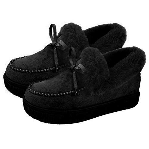 Bowknot - Botas planas de algodón para mujer, informales, modernas, planas, cálidas, de invierno, de ante