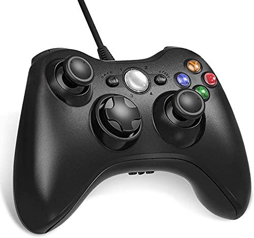 Lunriwis Xbox 360 Controller USB Controller Game Controller mit Kabel Wired Gamepad Joypad Joystick für Microsoft Xbox 360 und PC (Windows 7/8/10/XP)-Schwarz