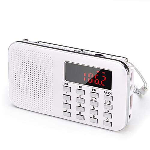 Mini Portable Pocket AM FM Radio with LED Flashlight, Digital Radio Speaker Music Player Support Micro SD/TF Card/USB, Auto Scan Save, 1200mAh Rechargeable Battery Operated, by PRUNUS