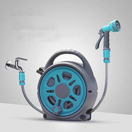 BGSFF Automatisch versenkbare Schlauchtrommel, automatischer Rücklauf zur Wandmontage, mit Spritzpistole, 10,2 + 1,8 m Hybridschlauch, beliebig Lange Verriegelung, 180-Grad-Drehpunkt, Ga