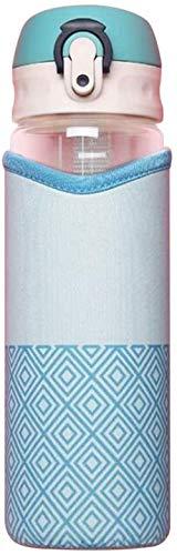 ZSW Botella de agua de vidrio con red antideslizante funda de silicona de boca ancha libre de BPA, ecológica, transparente, reutilizable, grande, para viajes, deportes para niños, 500 ml (azul